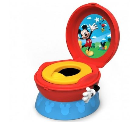 """MICKEY MOUSE 3-in-1 Celebration Potty System from The First Years Cheer your little potty trainee to success. The Mickey Mouse potty system features a three-in-one design that converts from stand-alone potty to potty seat to step stool. And when your little one is all done, he'll receive positive reinforcement with the """"hip-hip-hooray"""" sound flushing arm that will sure to make him smile from ear to ear."""