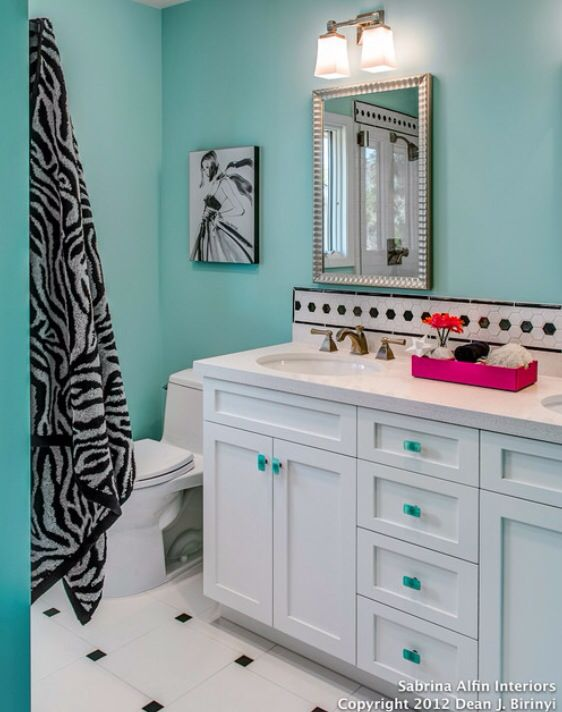 Zebra striped blue bathroom