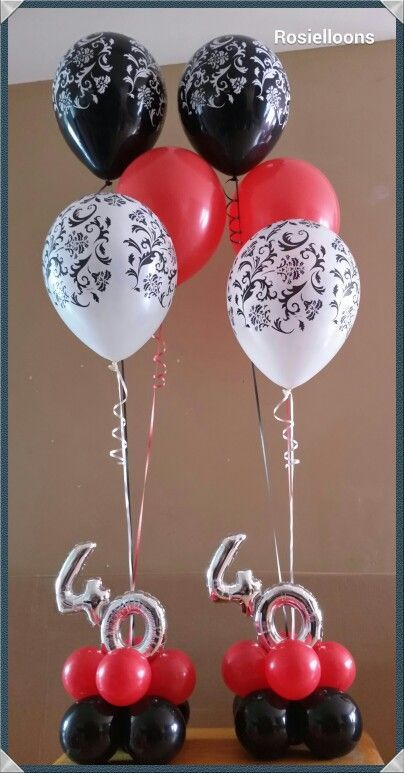 Balloon centerpieces for a 40th birthday party.