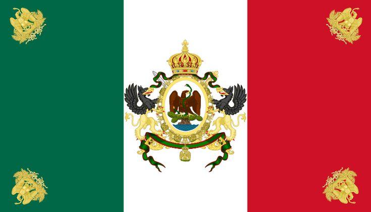 Bandera de Maximiliano I de México.- Nuestra Bandera Nacional fue diseñada nuevamente, pero manteniendo prácticamente los mismos símbolos, pero ahora devorando a la serpiente; este emblema estuvo vigente hasta el año de 1867 con la muerte de Maximiliano y fue transformada conforme al escudo Imperial de Francia.