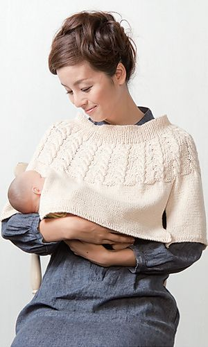 I haven't seen such a useful and chic breastfeeding cover before. Very clever and cute! Thumbs up! Ravelry: Nursing Poncho by Pierrot - clever knitting pattern! #breastfeeding #cover #knitting