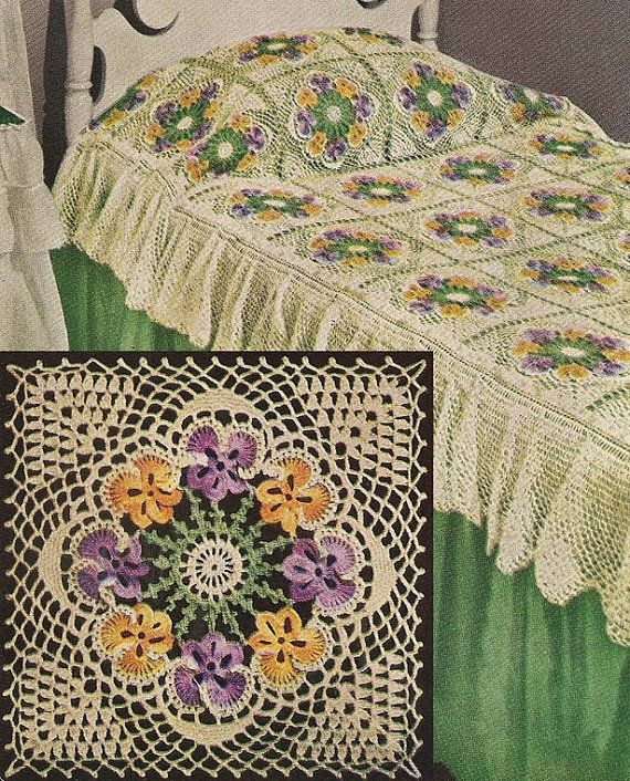 1949 Pansy Bedspread Vintage Crochet Pattern - even if I learned to crochet I doubt I'd be able to do this