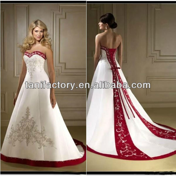 White Red Wedding Dresses 2013