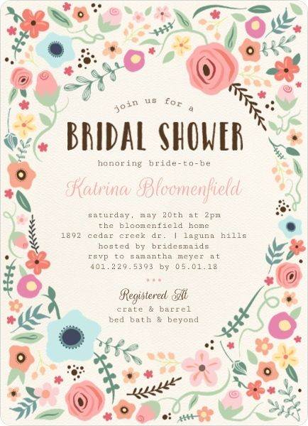 Whimsical Garden Frame Bridal Shower Invitation by PurpleTrail.com. #summerbridalshowerideas #bridalshowerinvitations #floralbridalshowerideas