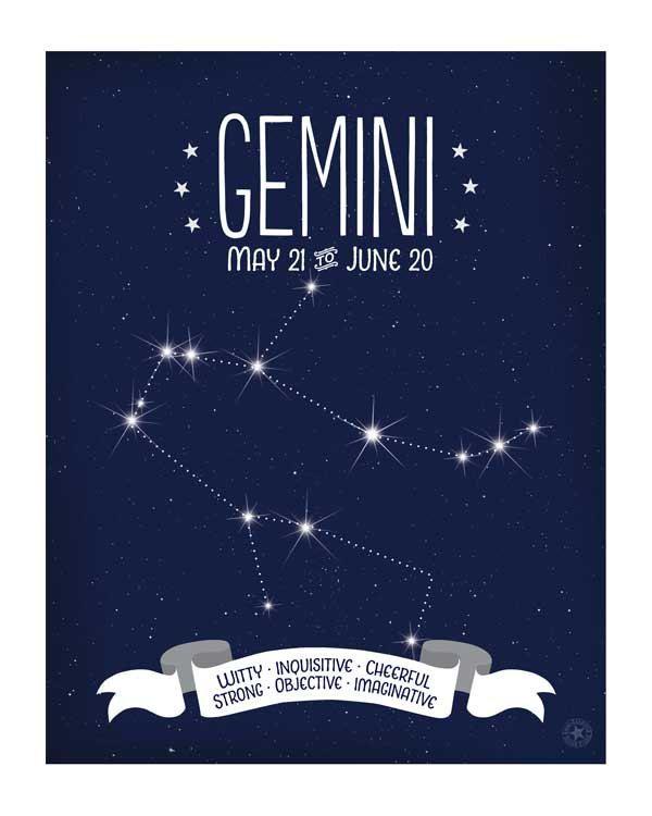 Gemini+Constellation+Art++++Zodiac+Star+Map++by+AnneGarrisonStudio,+$15.00