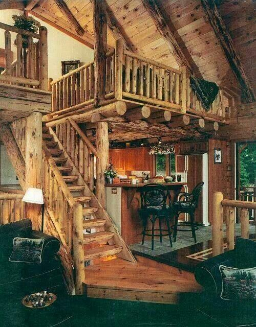 log cabin living room and loft - Log Cabin Living Room