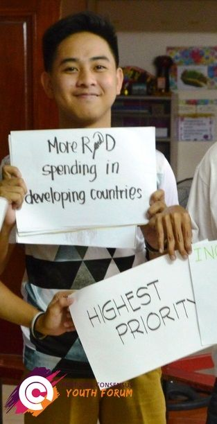 After participating in our youth forum in the Philippines, this young man ranked 'more research and development spending in developing countries' as his top priority for the post-2015 development agenda.