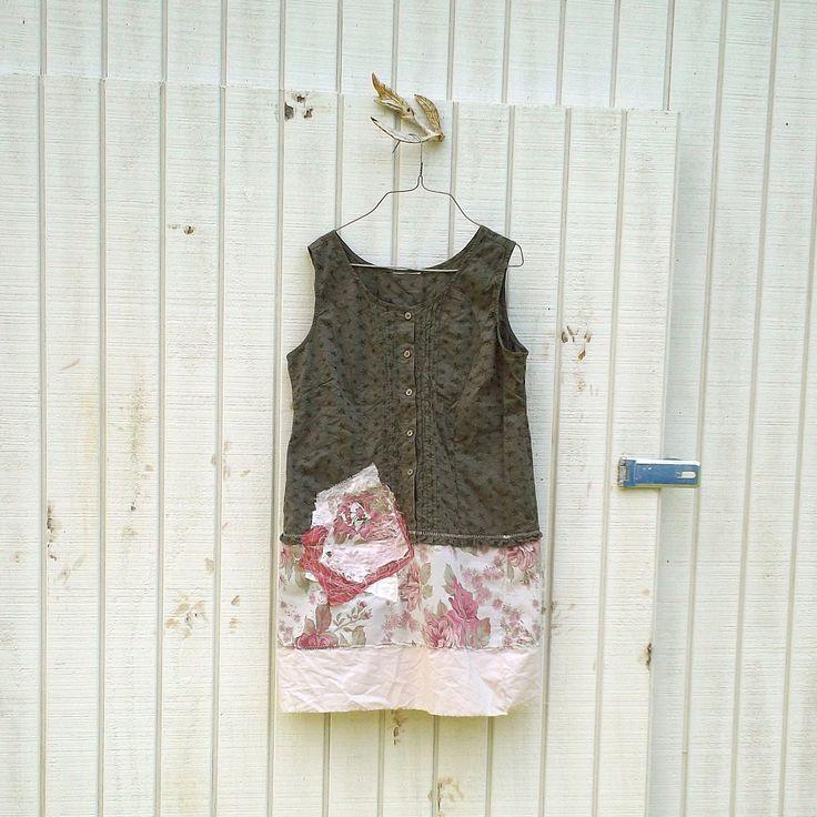 funky dress / eco dress / upcycled clothing / tattered dress / casual dress / boho mini dress