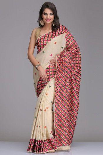 Light Beige Chanderi Saree With Colourful Phulkari Embroidery