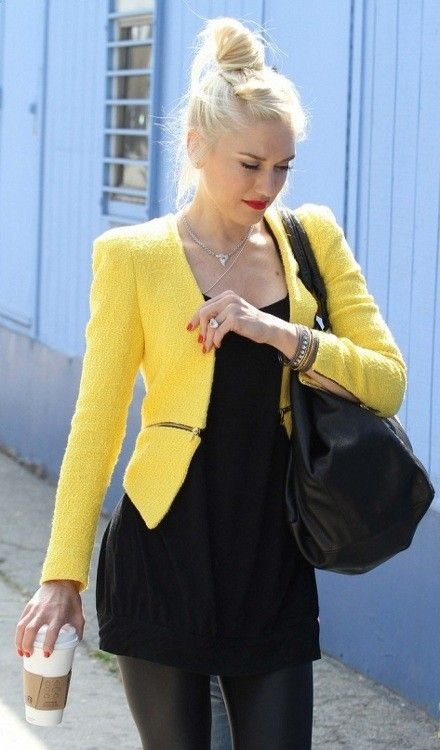 Fun & Bright Jacket... just need a longer skirt to wear to work. Gwen always looks great:)