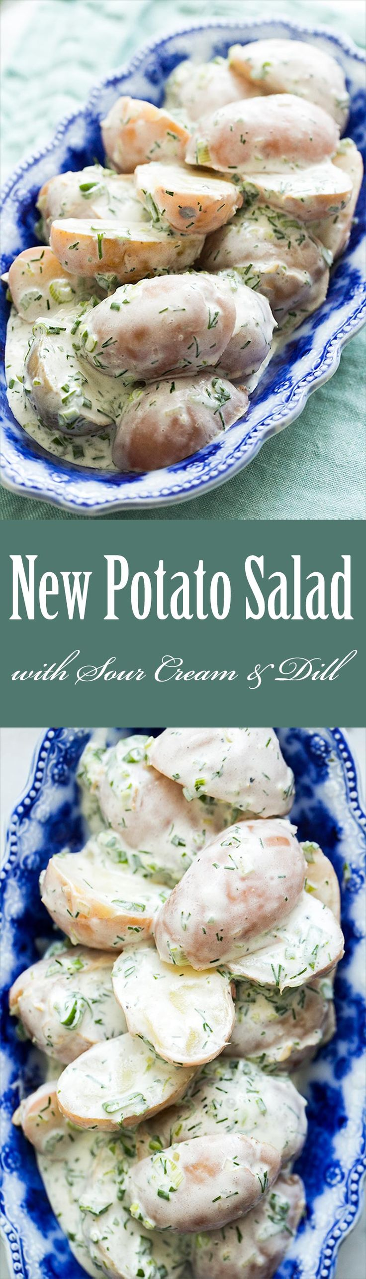 Easiest potato salad ever! With small red-skinned new potatoes, sour cream, and dill. Perfect for a potluck! On SimplyRecipes.com