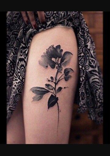 Black watercolor flower