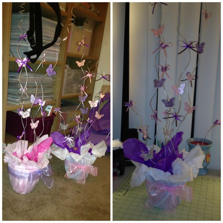 Butterfly centerpiece 39 s i made for a baby shower made by for Baby shower decoration butterfly