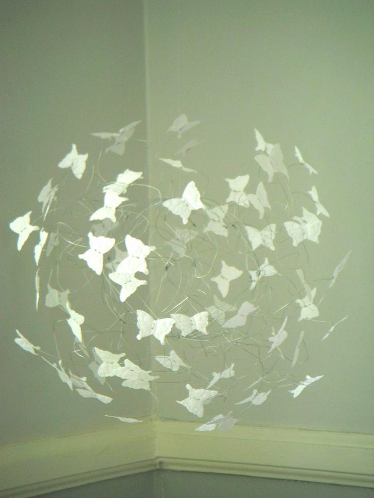White Butterfly Mobile Hanging Mobile Nursery Decor Wedding Decor. $47.00, via Etsy.