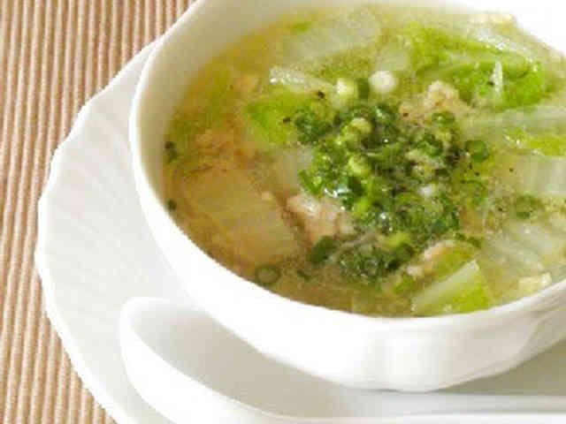 3分煮るだけ☆鶏挽肉と白菜の春雨スープの画像