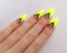 Neon gelb-Stiletto-Nägel, Nail Design, Nail Art, Nails, Stiletto-Nägel, Acryl Nägel, Spitzen Nägel, Fake Nägel, falsche Nägel