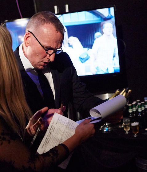 Christopher Eccleston, backstage at BAFTA 2015