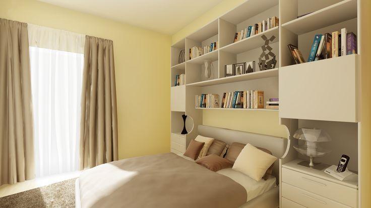 Il progetto di una libreria a ponte per la camera da letto, con comodini incorporati nel mobile. www.arrediemobili.com