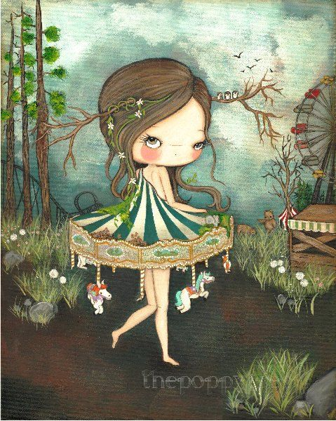 Carousel Print Merry Go Round Bear Carnival Girl The Forgotten Carnival LARGE PRINT 11 x 14