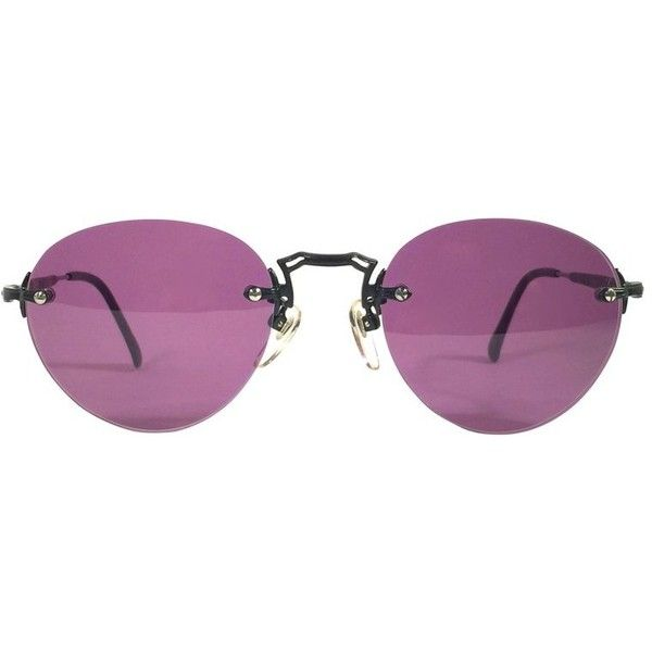 Preowned Matsuda Vintage 2825 Rimless Oval Sunglasses Made In Japan,... (6.870.230 IDR) ❤ liked on Polyvore featuring accessories, eyewear, sunglasses, purple, oval rimless glasses, oval sunglasses, purple lens sunglasses, purple sunglasses and purple glasses