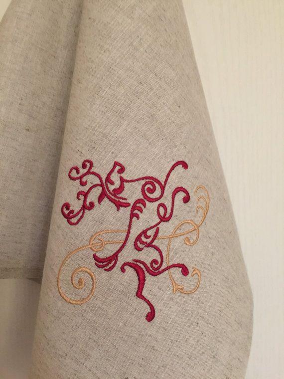 Linen Dish Towel Embroidery Tea Hand Guest Kitchen by Rokasdarbi
