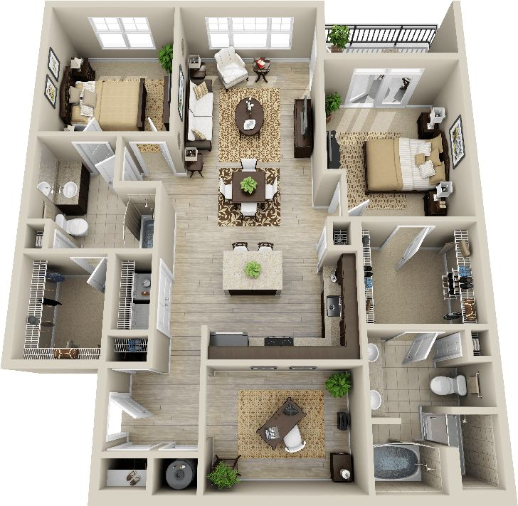 Best 25 condo floor plans ideas on pinterest for 4 bedroom 3d house plans
