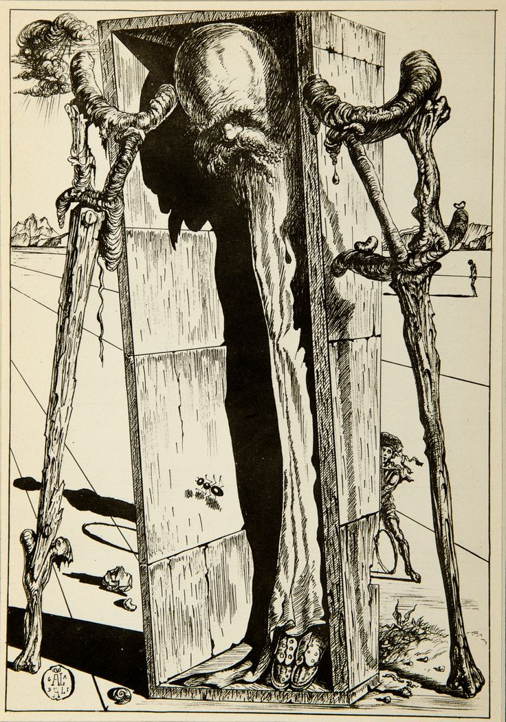 Salvador Dali, The Crutches of Uncle Celestin (1944) [From Fantastic Memories by Maurice Sandoz Illustrated by Salvador Dali] #drawing #art #artmarket #limitededition #artistoftheday #fineart #buyart #dali #illustration #surrealism