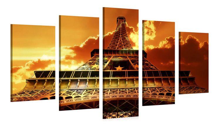 De prachtige Eiffeltoren als 5-luik schilderij aan je muur. De Eiffeltoren is een opvallend gebouw en nog meer een Eye-catcher dankzij de felle oranje kleur in dit kunstwerk.