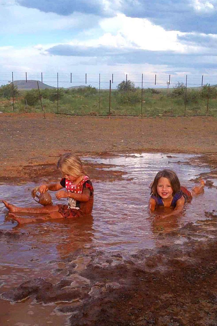 "The du Plessis kids playing in the mud! Some countries even introduced ""dirt patches"" to help boost children's immune system."
