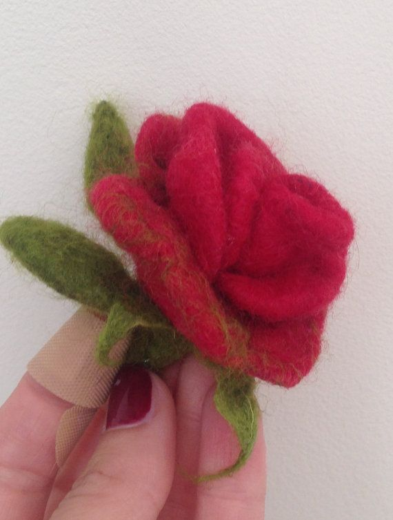 felted brooch / rose/ flower brooche /felted by RozalkaFeltAndWool