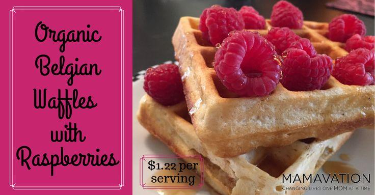 Organic Belgian Waffles with Raspberries #mamavation #organic #waffles #budget #organic25family4