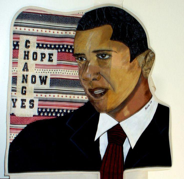 Obama portrait art quilt by Peche B.