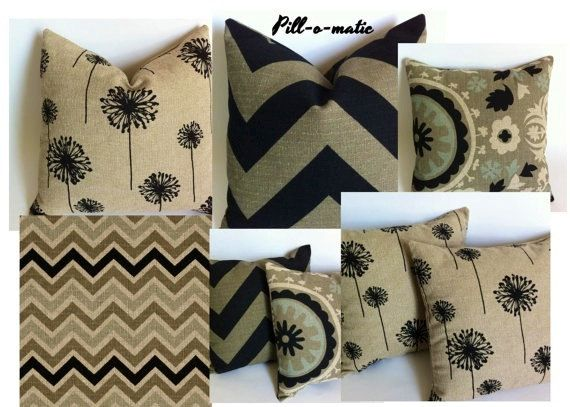 Chic Burlap Pillow Cover Collection Choose Your Fabric One Black and Tan Pillow Cover Black Chevron Pillow Beige Pillow Cover