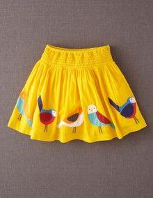 MiniBoden Decorative Bird Skirt
