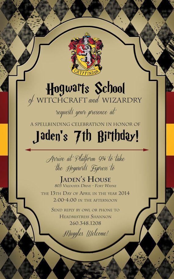 first birthday invitation template india%0A Harry Potter Birthday Invitation
