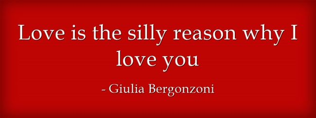 Love is the silly reason why I love you. Giulia Bergonzoni #quotes #love #reason #you