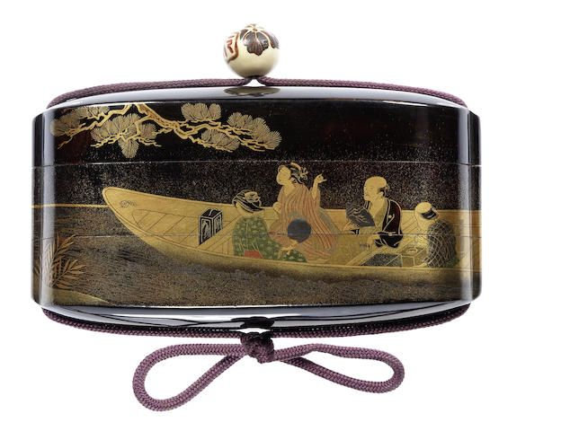 Lacquer two-case inro By Shiomi Masanari, late 18th/early 19th century Of very broad form, bearing a roiro and mura-nashiji ground, lacquered with two boatmen struggling on a shore to tow a ferry-boat transporting four passengers, as they pass an overhanging pine tree, in gold and coloured togidashi, the interior of black lacquer with kinji edges, signed Shiomi Masanari; with partly-lacquered ivory ojime.