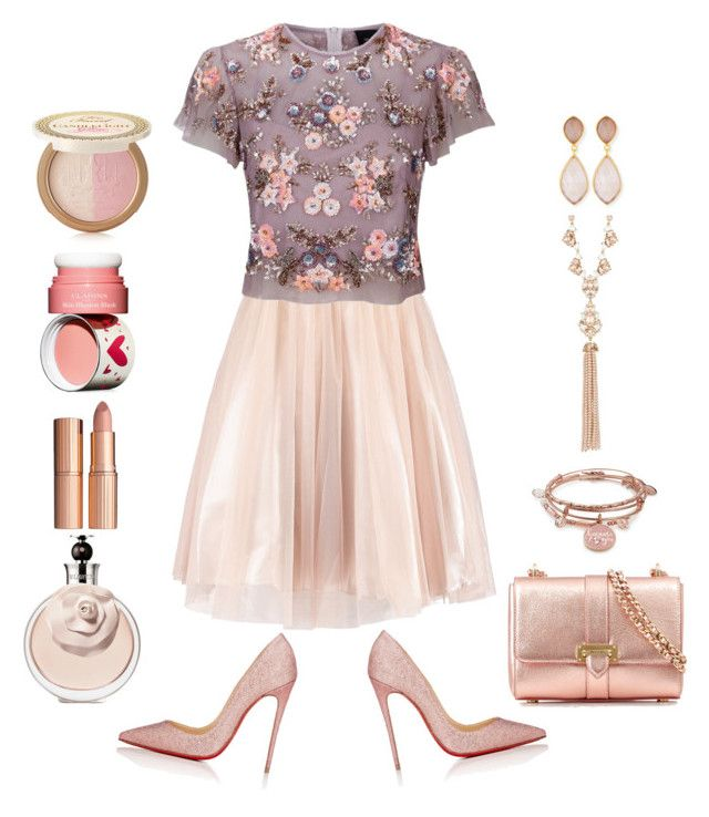 """""""Pinkish"""" by christinemusal ❤ liked on Polyvore featuring Needle & Thread, Christian Louboutin, Aspinal of London, Alex and Ani, Marchesa, Dina Mackney, Charlotte Tilbury, Clarins and Too Faced Cosmetics"""
