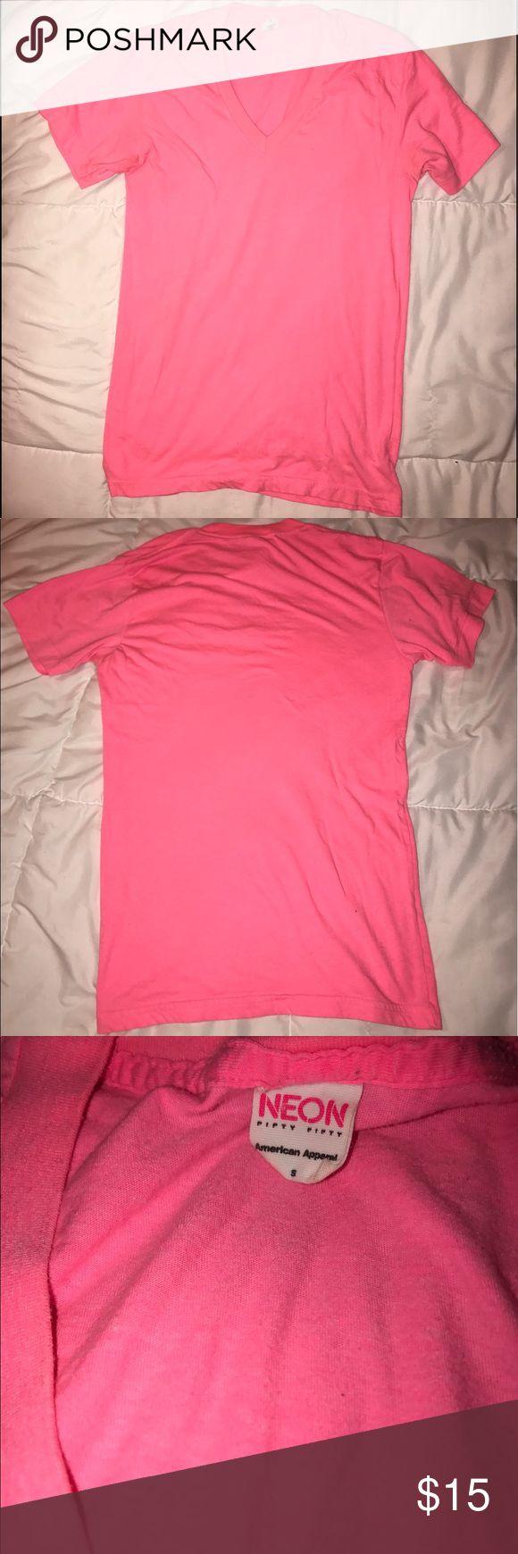 Selling this Classic Neon Pink American Apparel V Neck T-Shirt on Poshmark! My username is: anasun2011. #shopmycloset #poshmark #fashion #shopping #style #forsale #American Apparel #Tops