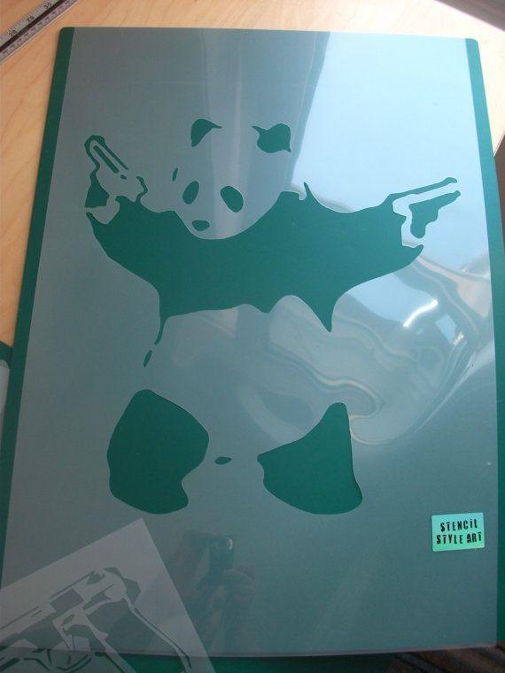 Banksy Stencils, Pandamonium Panda Guns Stencil, Reusable Banksy Stencil Art, Ideal for home wall painting, sizes XS-XL, Home Decor Banksy