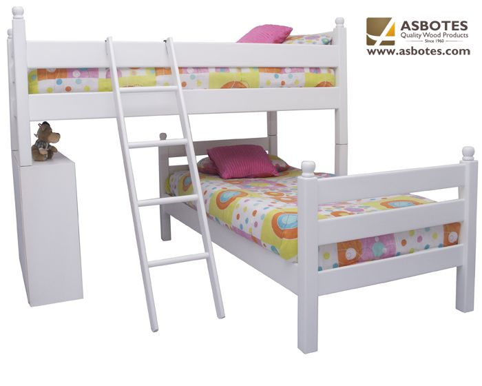 L-Shape Double Bunk with bookshelf (Exclude bedding & mattresses) Available in various colours. For more details contact us on (021) 591-0737 or go to our website www.asbotes.com