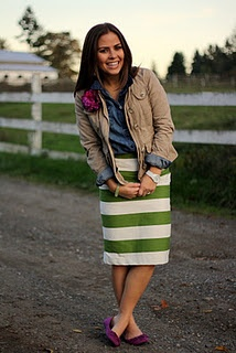 Too cute!! Love the flower pin on the jacket plus khaki over chambray with bright striped skirt