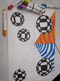 Op art idea for my 6th graders.