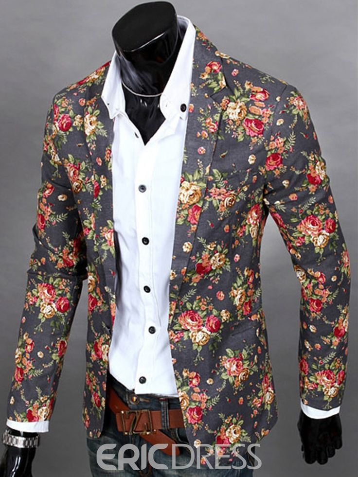 Floral Print Vogue Casual Men's Blazer