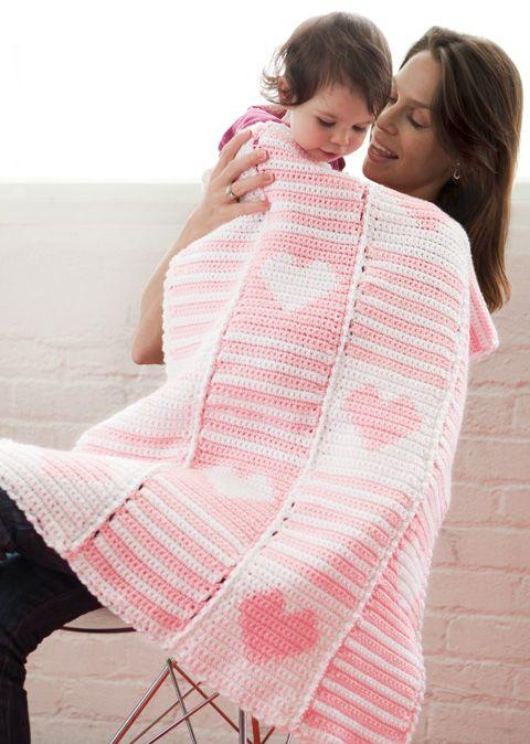 heart crochet baby blanket