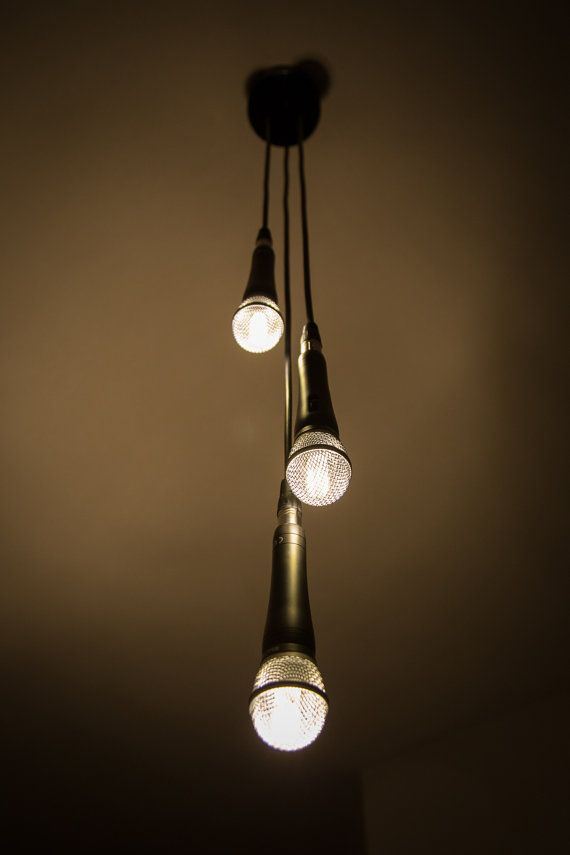 Triple Microphone Pendant Lamp by MicrophoneMania on Etsy