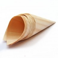 we're using these eco-friendly canapé cones made from pine shavings for evening nibbles