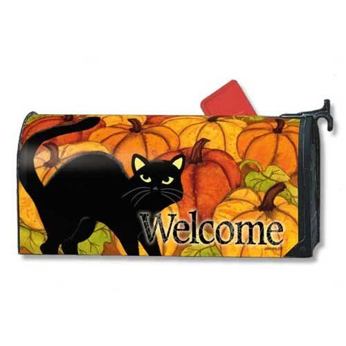 "Pumpkin Patch Cat Mailbox Cover by Mailbox Cover. $14.95. Vinyl coated and screen printed for long lasting beauty.. Snaps into place with 2 strong magnetic strips.. Mailwraps Mailbox Covers fit standard metal mailbox 6.5"" wide and 19"" long.. Decorative mailbox covers include 3 sets of self-adhesive numbers.. Durable cover attaches securely to your standard sized mailbox with a strong magnetic strip at each bottom.  This patented feature allows the cover to stay pu..."