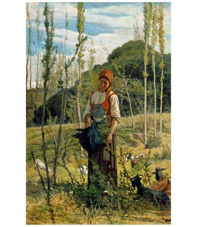 """Giovanni Fattori (Livorno 1825- Firenze 1908), """"Contadina nel bosco"""", 1861. Paesaggi Toscani collezione privata"""