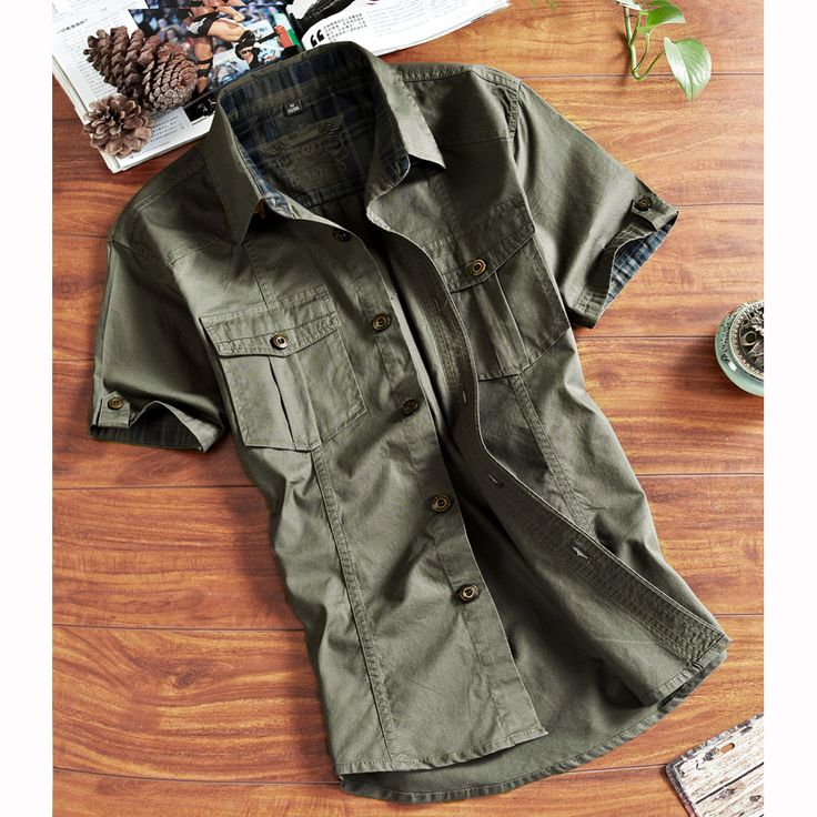 Designer Outdoor Sport Cotton Breathable Multi Pockets Cargo Short Sleeve Dress Shirts for Men - NewChic